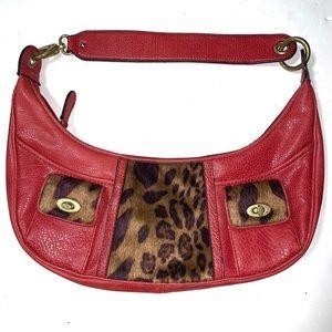 Nine West Red and Leopard Faux Fur Zip Close Purse